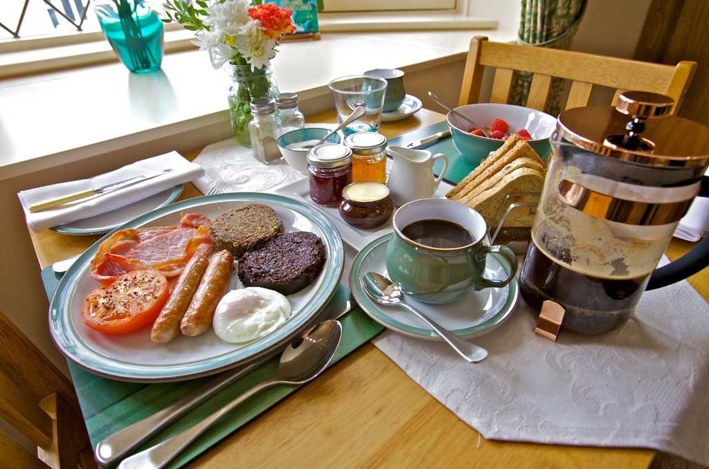 Full Scottish Breakfast at Kirkwall Bed and Breakfast